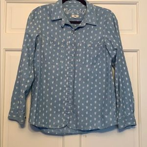 Madewell denim button down with white flowers!